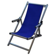 Spiaggina da mare sdraio poltroncina da giardino in alluminio blu