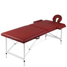 Lettino Pieghevole Da Massaggio Rosso 2 Zone Con Telaio Alluminio