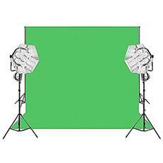 Fondale In Vinile Verde Chroma Key 2x6m (anima In Allumunio) Con Set Supporto Fondale Con Catena In Metallo E Kit Daylight 1750/1750w + Stativi 2.5m