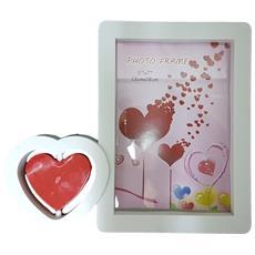 Cornice Portafoto Da Tavolo Scrivania 13x18 Cm Cuore Girevole Love Amore Bianco Fotografie Foto Porta Idea Regalo
