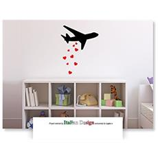 Adesivo In Vinile Rimovibile Da Parete Stickers Mis. S - Airplane Love
