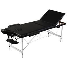 Lettino Pieghevole Da Massaggio Nero 3 Zone Con Telaio Alluminio