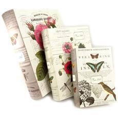 trio di scatole di immagazzinaggio 'jardin botanique' beige - [ k6170]