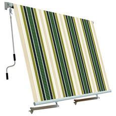 Tenda Da Sole Per Balcone Con Sistema A Caduta Ecru / Verde 250x250 Cm
