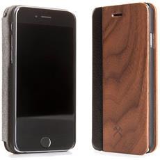 Flip Cover Custodia in Legno Naturale per iPhone X Colore Noce