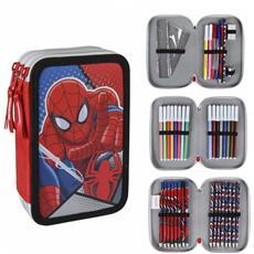 Astuccio Triplo Spiderman 3 Zip Completo Accessoriato Bambini Scuola