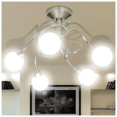 Lampada Da Soffitto Con Diffusori Di Vetro Tondi Per 5 Lampadine G9