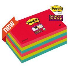 confezione da 6 pezzi - blocco 90foglietti post-it®super sticky 76x127mm 655-6ss-jp bora bora
