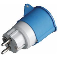 Adattatore Industriale 220V da Schuko a Presa Industriale 2P+T IP44 Blu
