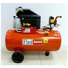 Compressore Aria 50 Lt Litri Fini Amico 50 8 Bar 2 Hp Mk2400 Carrellato