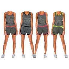 Tuta Donna Due Pezzi Pantaloncino E Canotta Modello Flexy Abbigliamento Sportivo - Fucsia L / xl