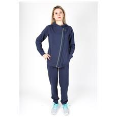 Tuta Donna Cotton Lycra Zip Diagonal Blu Blu S