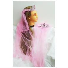 Corona Diadema Rosa Coroncina Con Velo Nastro Principessa Sposa Addio Al Nubilato Matrimonio Wedding Party