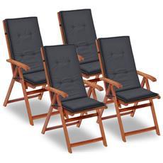 4 Pz Cuscini Per Sedie Da Giardino Antracite 120x50x3 Cm