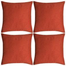Set 4 Federe Per Cuscini In Simil-lino Terracotta 40x40 Cm