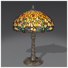 Lampada Da Tavolo Dragonfly In Vetro Stile Tiffany
