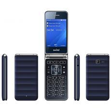 M600D Telefono a conchiglia DUAL SIM colore blu scuro e bordi silver