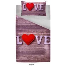 Parure Sacco Copripiumino Letto Singolo Paesaggio Animali Londra Cuori Love - Amore