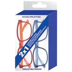 Kit 2 Occhiali Lettura Prontixte Unisex Blu E Rosso + 3.50 Diottrie + Astuccio