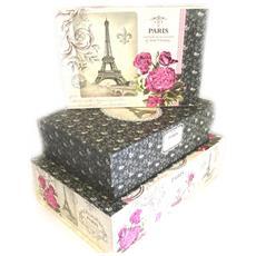 set di 3 scatole di nidificazione souvenir 'belle epoque' nero beige rosa - [ m3991]