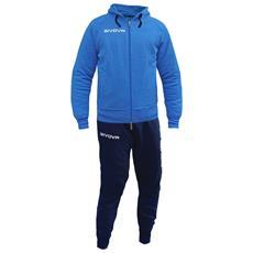 Tuta Poker Givova Completo Di Giacca Con Zip Manica Lunga E Pantalone Colore Azzurro Melange / blu Taglia M