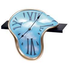 Orologio da tavolo ''Orologio classic mensola'' in resina decorata a mano Meccanismo al quarzo tedesco UTS Dimensione cm 30x28x16 Colore oro e celeste con nuvole