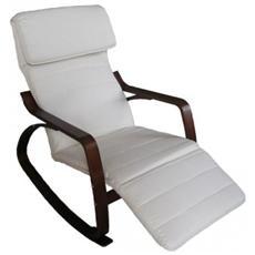 Sedia A Dondolo Poltrona Imbottita Fodera Naturale Con Cuscino E Poggiapiedi Regolabile