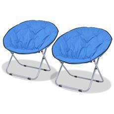 Sedie Pieghevoli Moon Chair 2 Pz Blu In Acciaio 80x67x77 Cm