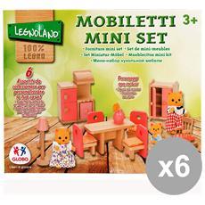 Set 6 Mobili Legno Per Casa Delle Bambole 37441 Globo Giocattoli