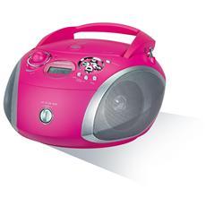 Radio portatile con lettore CD supporto MP3 / WMA Colore Rosa / Silver