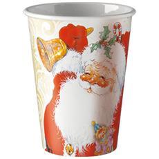 8 Bicchieri Di Carta Con Babbo Natale Taglia Unica