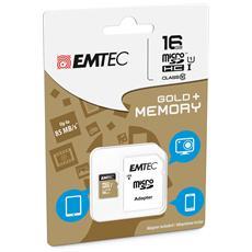 microSD Class10 Gold+ 16GB, MicroSDHC, Blu, Oro, Class 10, SD, Blister
