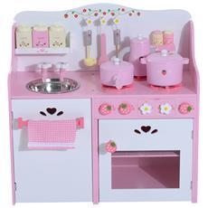 Cucina Giocattolo Per Bambini In Legno Con Accessori, Rosa, 60x30x63cm