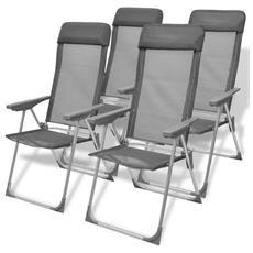 4 Pz Sedie Da Campeggio In Alluminio Grigio 56x60x112 Cm