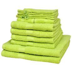 Set 12 Pz Asciugamani Cotone 100% 500 Gsm Verde Mela
