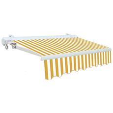 Tenda Da Sole Cassonata Per Balconi Con Bracci Bianco / Giallo 300x250 Cm
