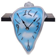 Orologio da tavolo ''Orologino mensola'' in resina decorata a mano Meccanismo al quarzo tedesco UTS Dimensione cm 15x20x12 Colore alluminio e celeste con nuvole