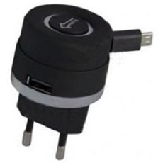 Caricatore Con Cavo Retrattile 220v Per Iphone 4 - 4s Con Porta Usb Nero Td-155