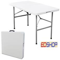 Tavolo Tavolino Pieghevole Richiudibile Resina Metallo Sagre Fiere 122x60xh74