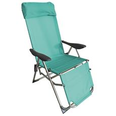 Sedia Sdraio Spiaggina Pieghevole In Alluminio 5 Posizioni Con Poggiapiedi - Tiffany