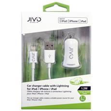 JI-1524, Auto, Interno, Universale, Accendisigari, USB, Bianco, Contatto, Lightning, USB