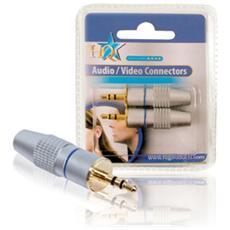 Connettore Stereo 3.5 mm Maschio Metallo Argento
