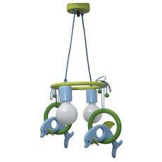 0112.01 Lampadario sospensione Delfin 2flg cameretta bambini 40cm x 40cm x max 70cm (regolabile)