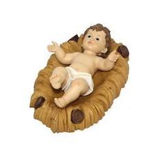 Gesu Bambino con Culla in Legno 26 cm