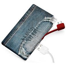 PowerBank Extraslim 2200 mAh USB 1A per smartphone e cellulari - Jeans