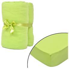 Set 2 Lenzuola Con Gli Angoli Verde Per Materasso 90 X 190-100 200cm
