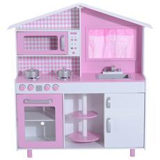 Cucina Giocattolo Per Bambini Con Accessori In Legno, Rosa, 110x32.5x99.5cm