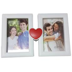 Cornice Portafoto Da Tavolo Scrivania 2 Foto 10x15 Cm Cuore Love Amore Bianco Fotografie Porta Idea Regalo