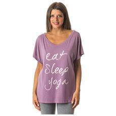 T-shirt Donna Yoga Con Scritta Rosa S