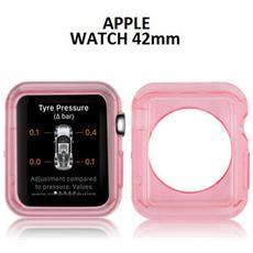 Custodia Gel Tpu Silicone Per Apple Watch 42mm Colore Rosa Trasparente